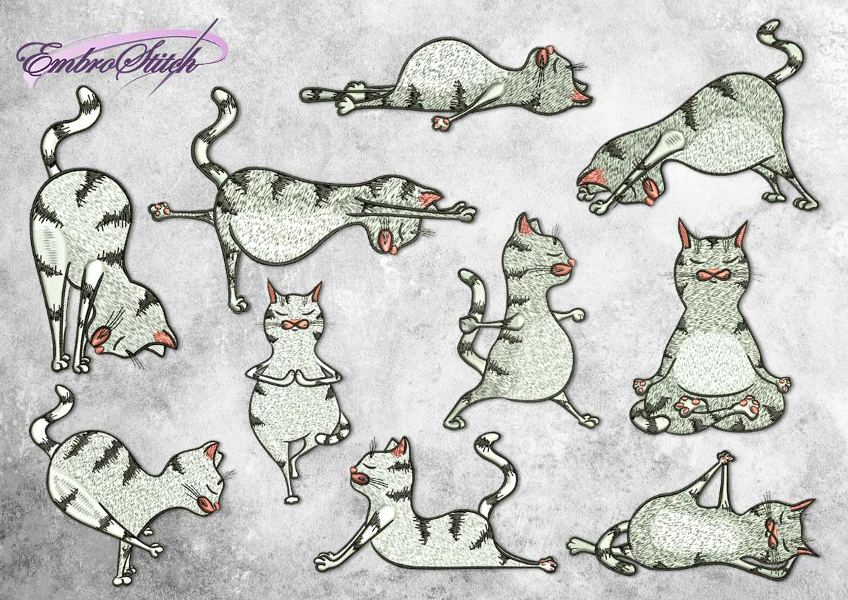 The pack of embroidery designs Cute Yoga cats contains 10 designs depicting various yoga poses.