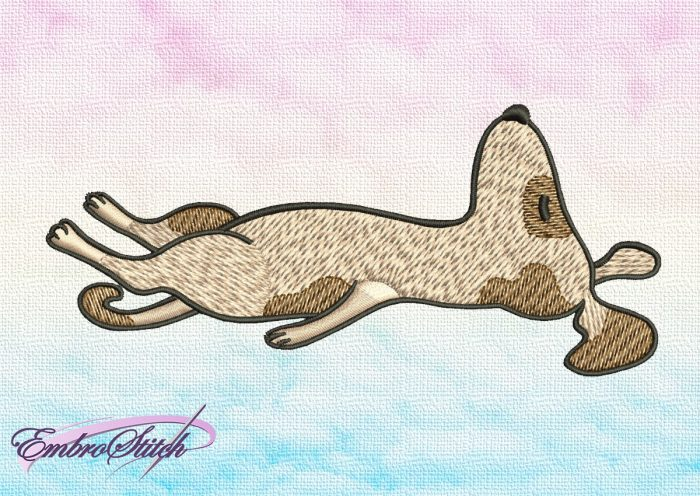 The embroidery design Cute dog in Shavasan depicts very important relaxing yoga pose.