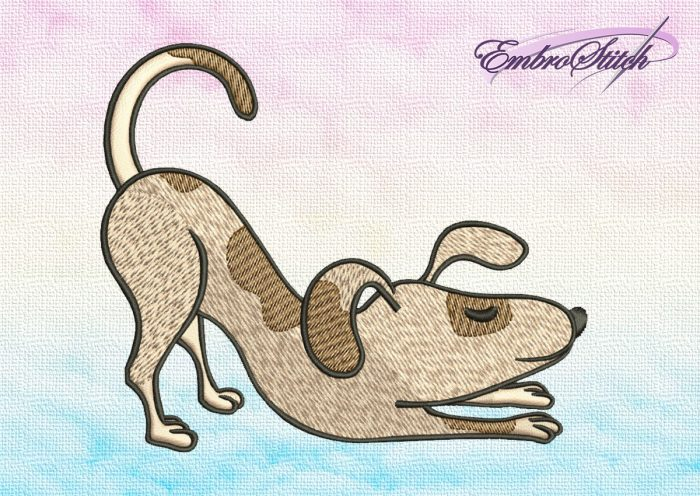 The embroidery design Cute dog in Uttana Shishosana depicts yoga pose, which is very useful for health.