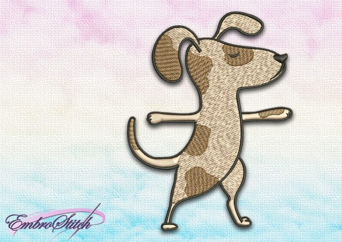 The embroidery design Cute dog in Virabhadrasana II  depicts the second step of warrior yoga pose.