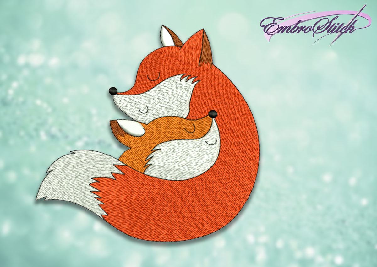 The embroidery design Cute foxes