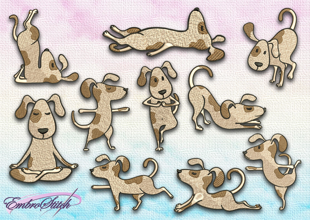 The pack of embroidery designs Cute yoga dogs contains 10 designs, that are provided by Embrostich.