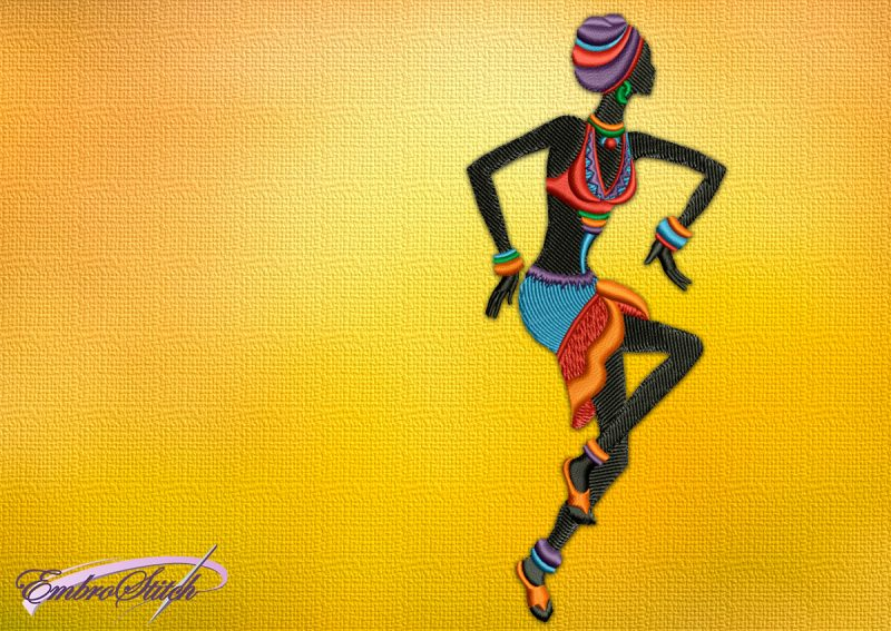 The embroidery design Dancing girl in slippers, that is dressed in a light outfit