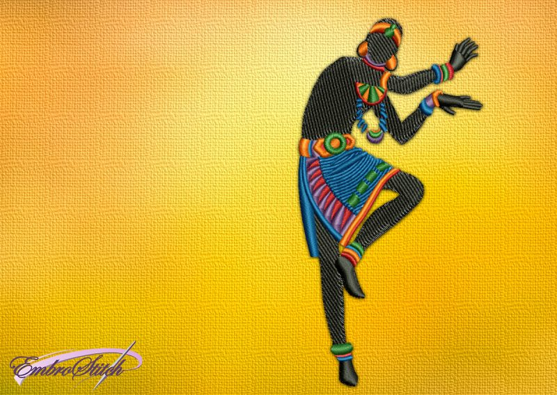 The embroidery design Dancing man with ethnic ornaments shows that he is ready to fight