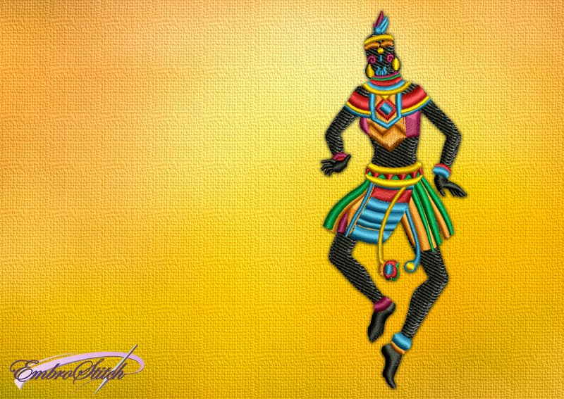 The embroidery design Dancing woman in jump shows gratitude to the gods for a good prey.