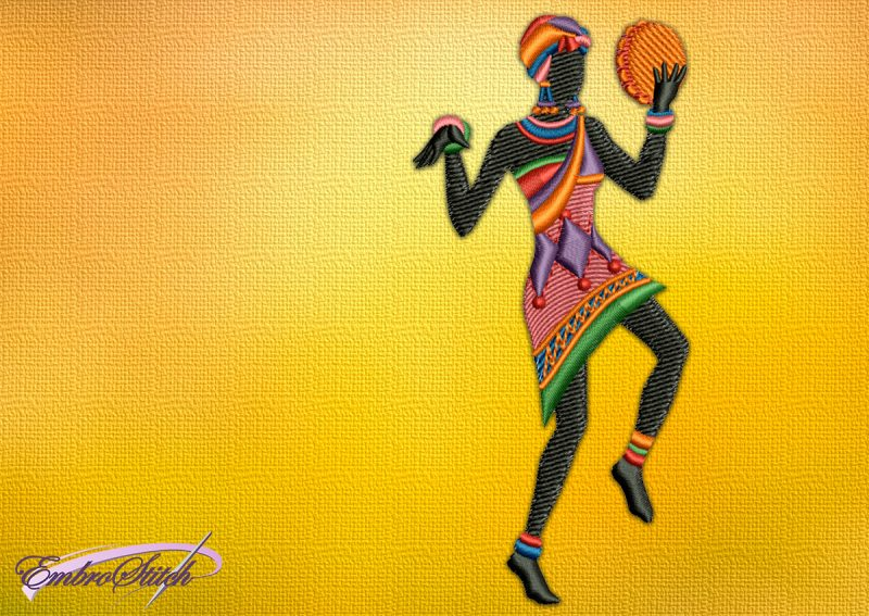 The embroidery design Dancing woman with a Tambourine, who holds a tambourine in her hands.