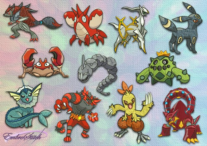 The pack of embroidery designs Different pokemons contains 11 items