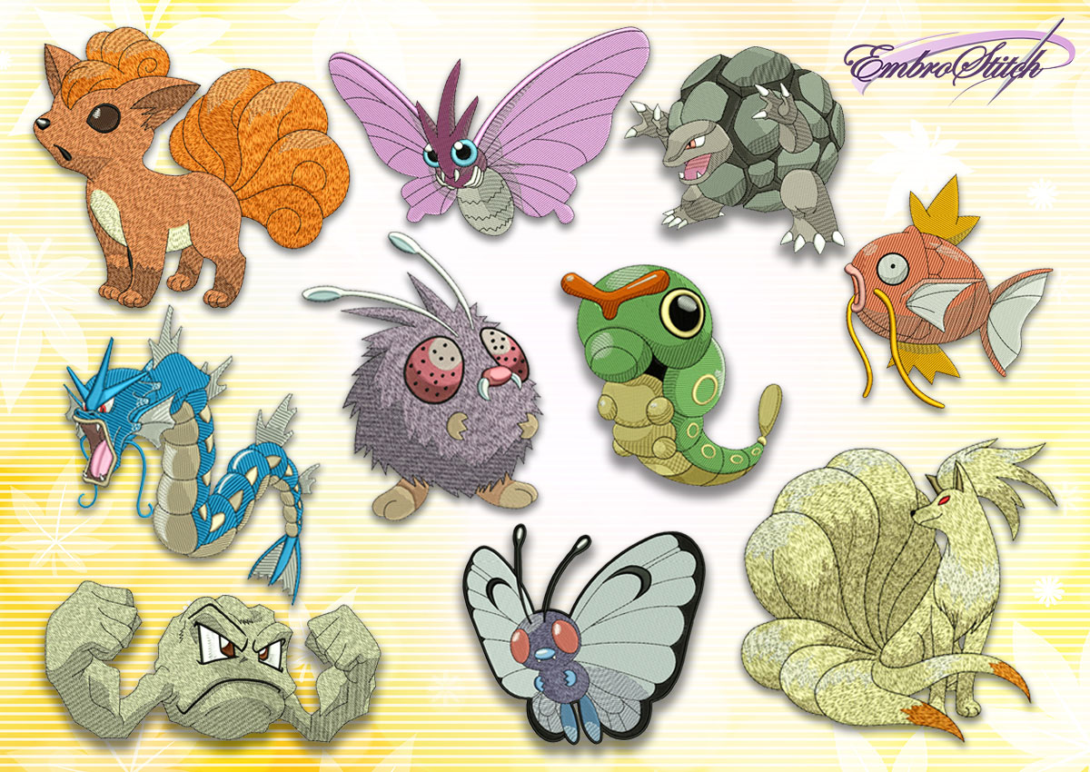 The pack of embroidery design Different pokemons