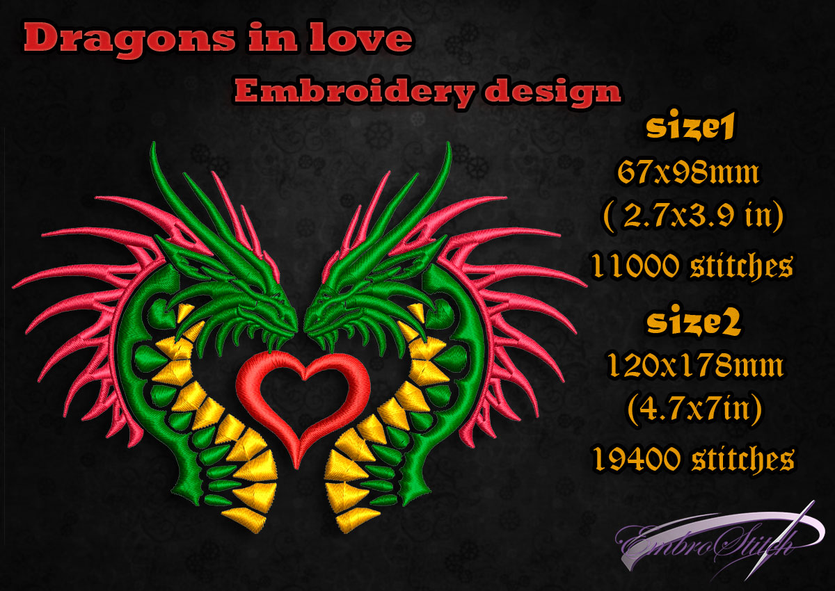 This is embroidery design Dragons in love