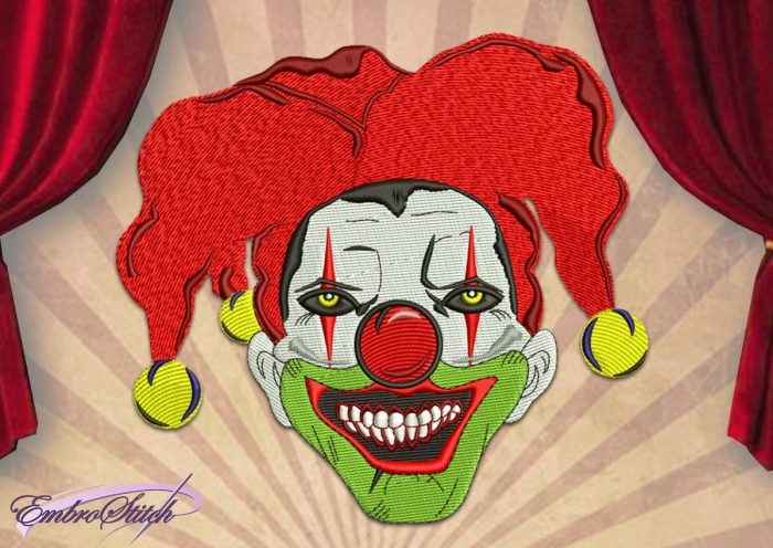 The embroidery design Dreadful Clown depicts the creepy portrait of this famous circus character.