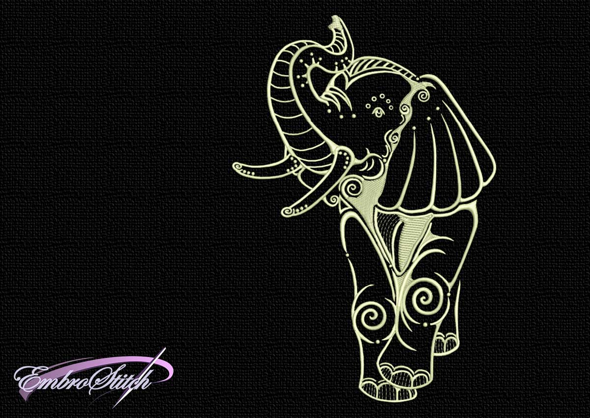 The embroidery design Elephant with dots