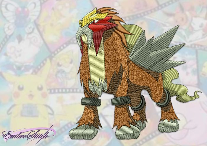 The embroidery design Entei Pokemon is a massive lion Pokemon