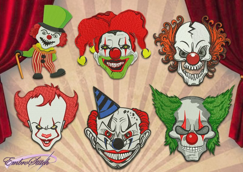 The pack of embroidery designs Evil Clowns contains 6 items, that were digitized with tatami and satin elements.