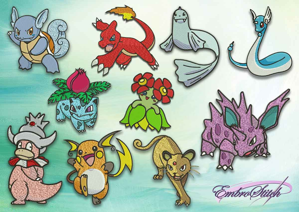 The pack of embroidery design Evolutions of pokemons