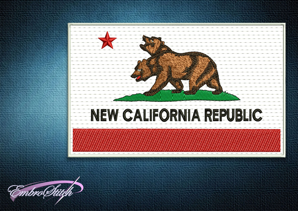 The embroidery design Fallout New California Republic Flag depicts a mutated two-headed bear on a white background.