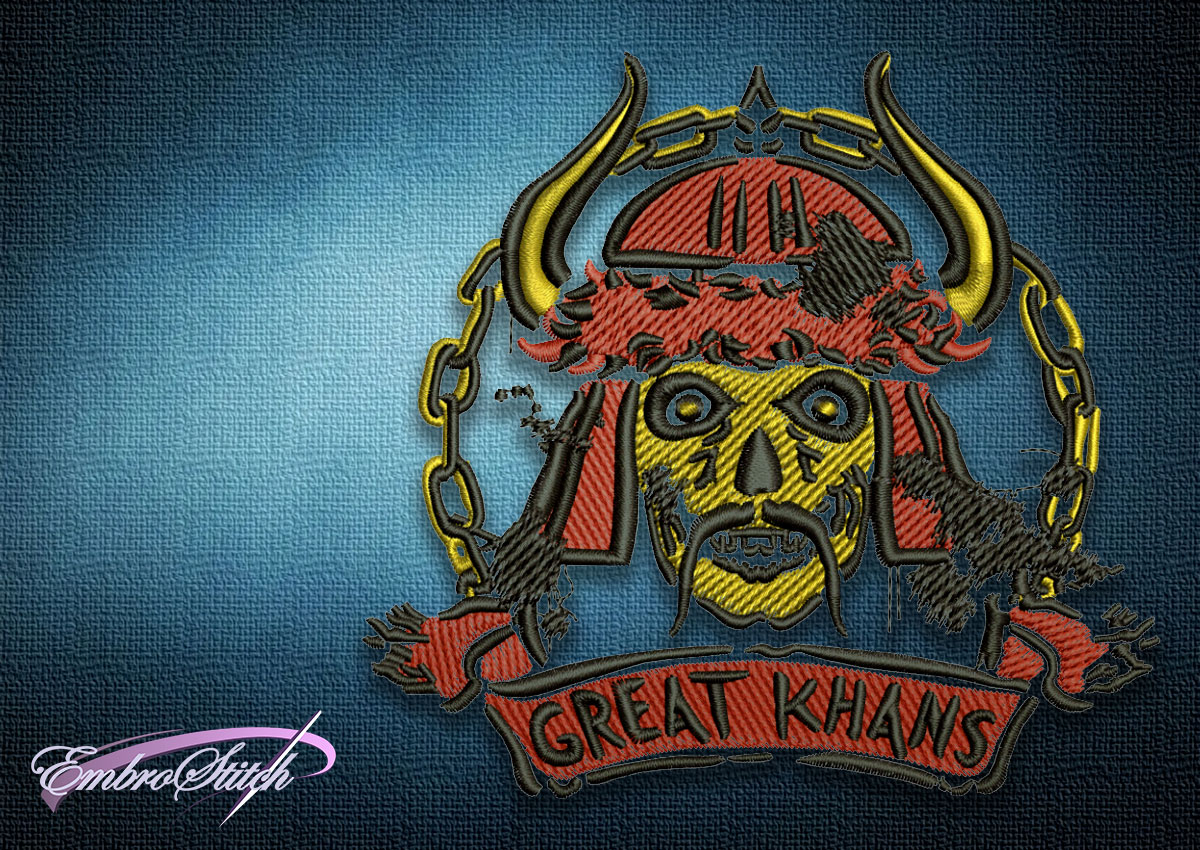 The embroidery design Fallout Great Khans Emblem depicts a skull of a Mongol warrior.