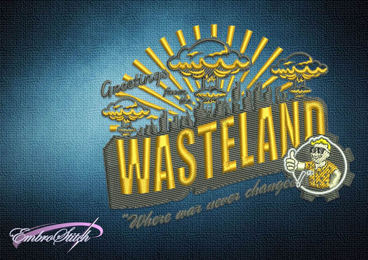 The embroidery design Fallout Greetings From the Wasteland was taken from Fallout video game franchise.