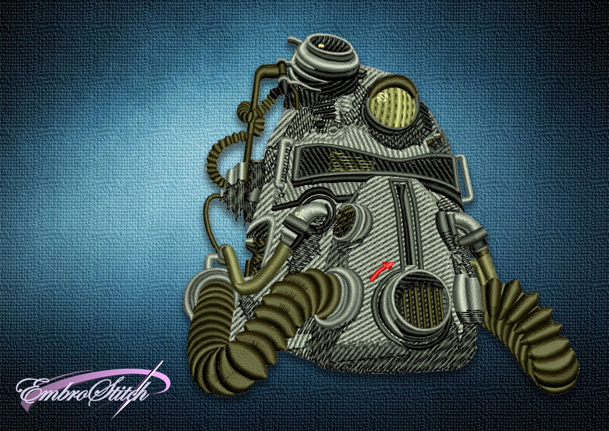 The embroidery design Fallout Power Armor Helmet depicts a menacing T-51b  helmet, that is worn by an American soldier.