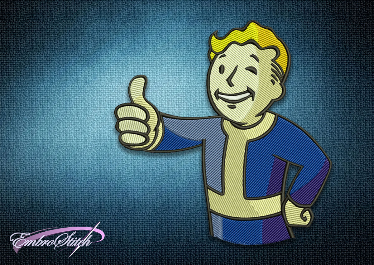 The embroidery design Fallout Vault Boy, which is famous mascot of the post-apocalyptic genre.