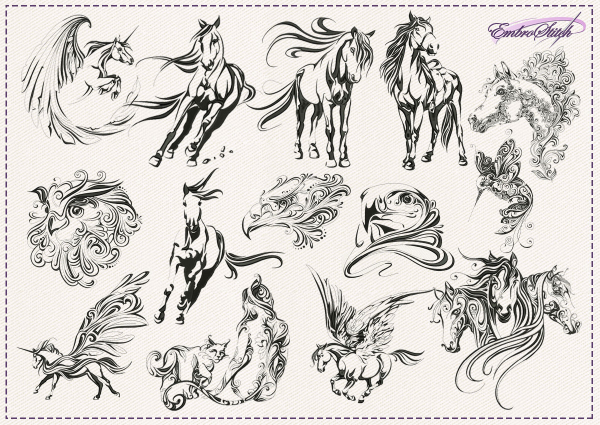 The pack of embroidery designs Fantastic Creatures