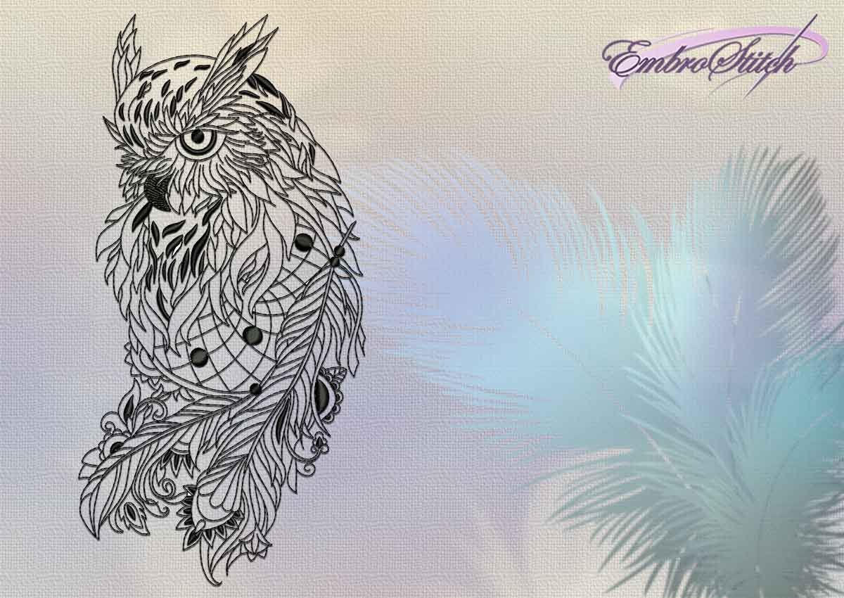 The embroidery design Feathery owl