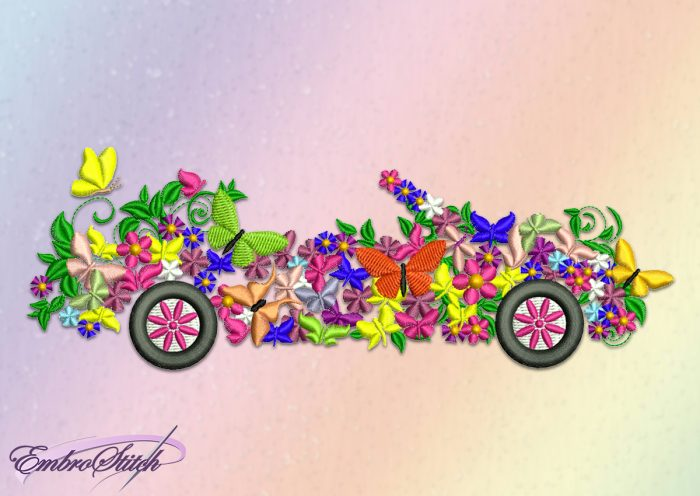 The embroidery design Flower car provides as digital archive with embroidery formats