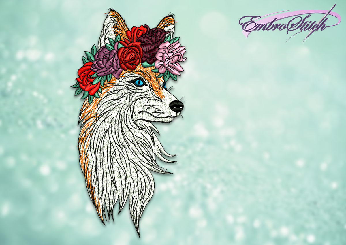 The embroidery design Fox with flower wreath