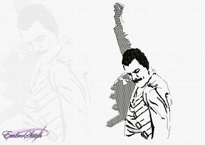 The embroidery design Freddie Mercury is somewhat abstract and consists of many elements of different size and stitching type.