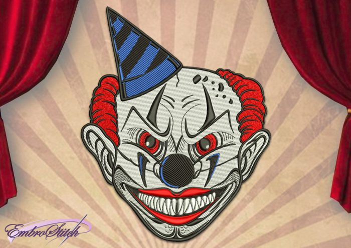 The embroidery design Frightening Clown was created by specialists of EmbroStich.