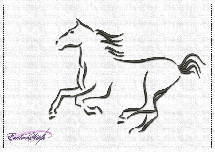 The embroidery design Frolic Horse depicts a silhouette of  horse running at full speed.