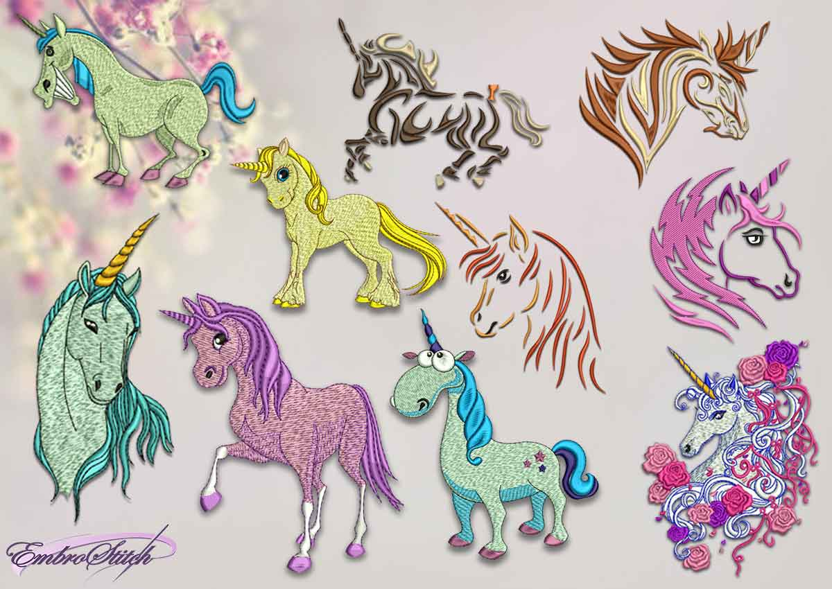 The pack of qualitative embroidery design Funny Unicorns