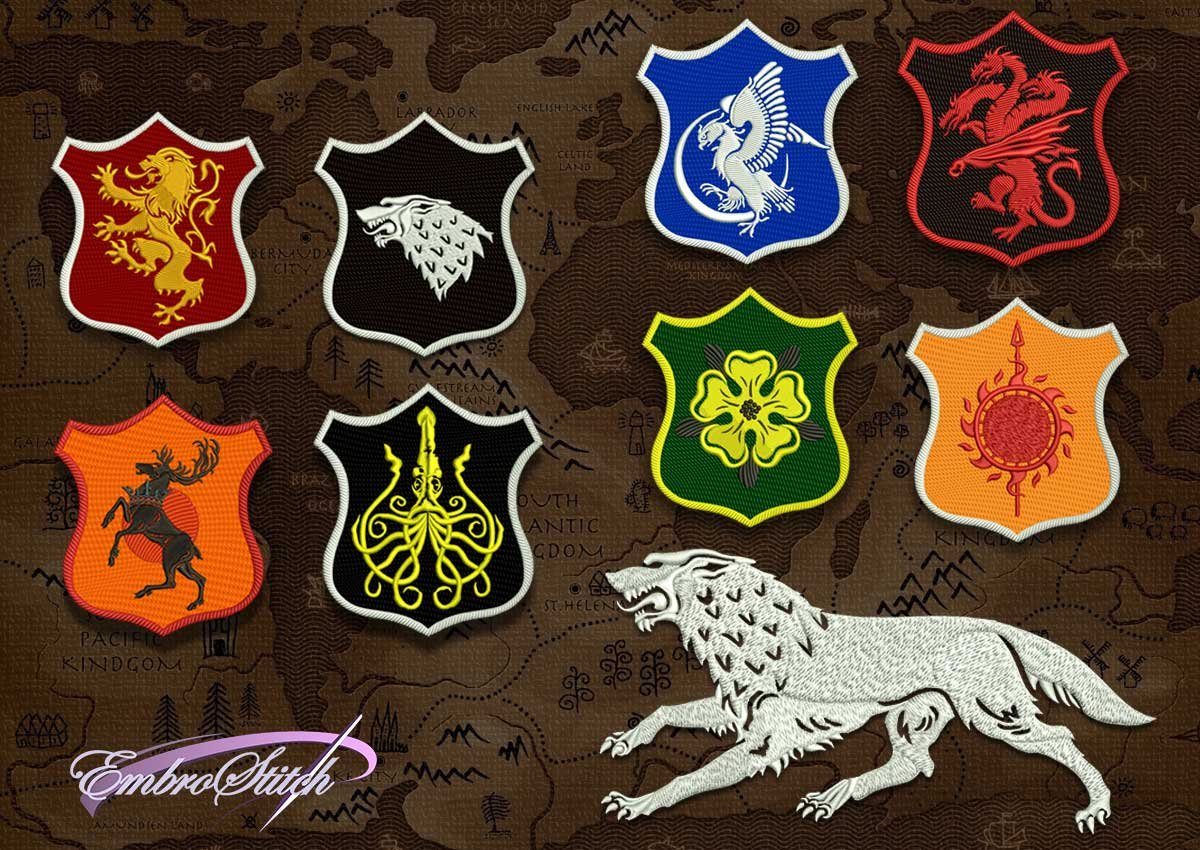 The pack of embroidery designs Games of Thrones contains 9 downloadable items.