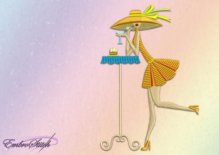 The embroidery design Girl in a Hat with a bow is made in the style of a simple drawing.