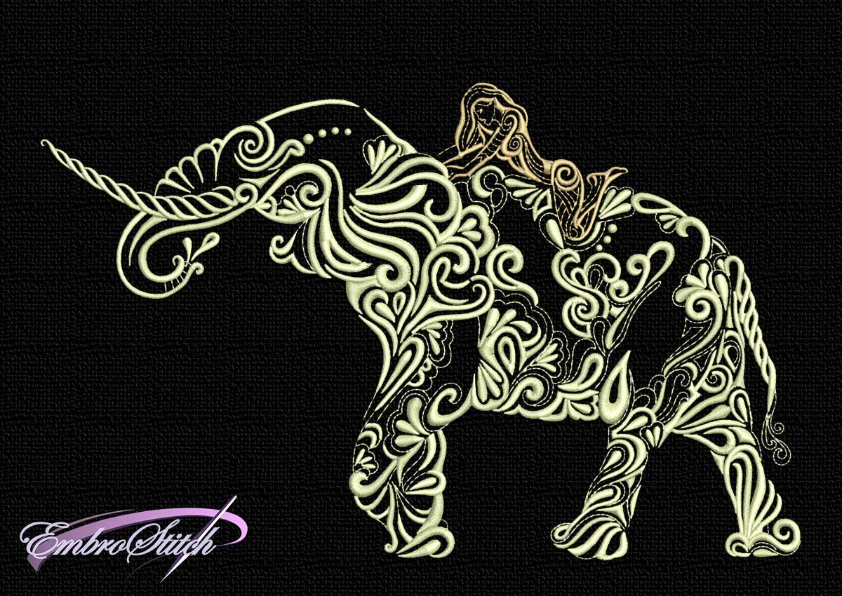 The embroidery design Girl on elephant