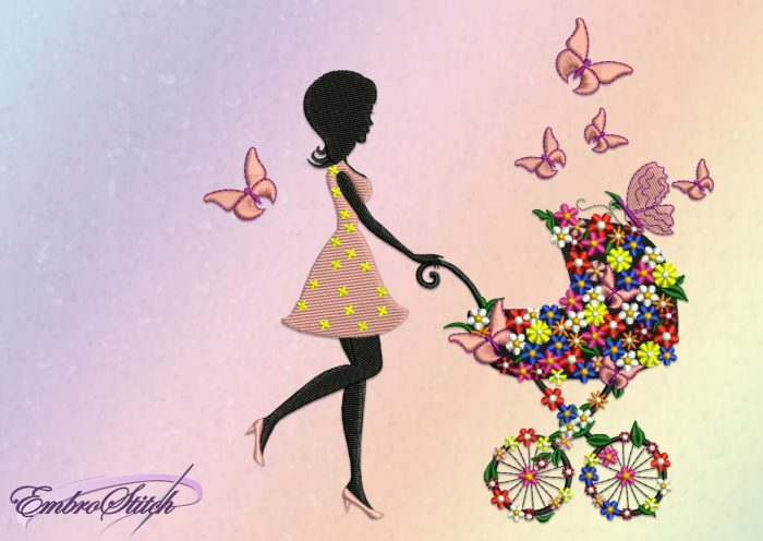 The embroidery design Girl with a stroller created with separate elements and many small flowers.