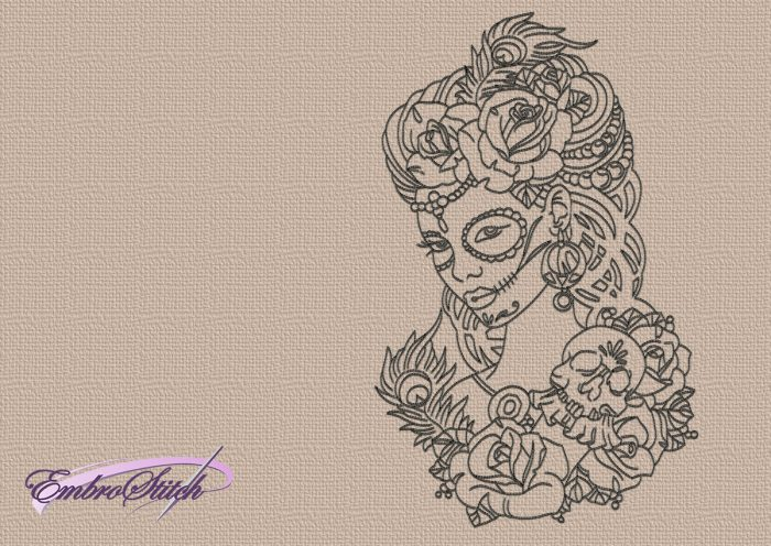The embroidery design Girl with skull and roses depicts portrait of very beautiful girl.