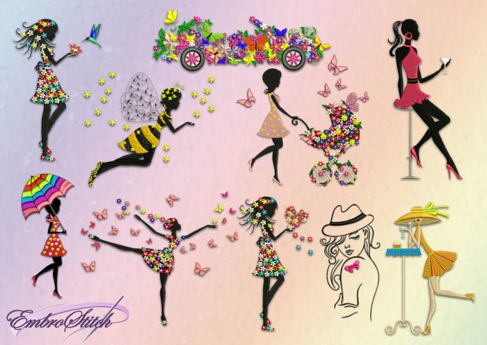 The pack of embroidery designs Girls in flowers consists 10 designs