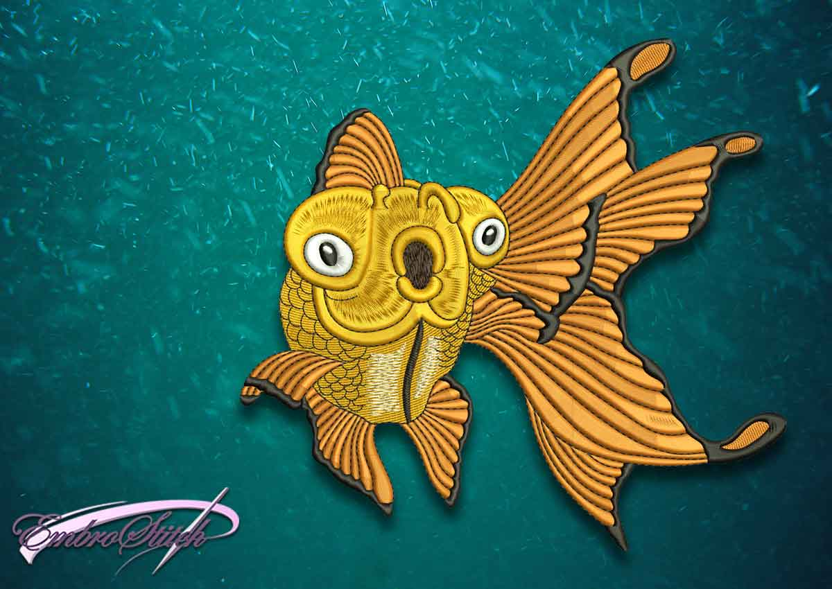 The high quality embroidery design Glad goldfish