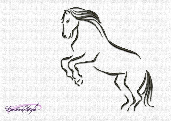 The embroidery design Graceful Horse depicts a strong horse in a sharp jump.