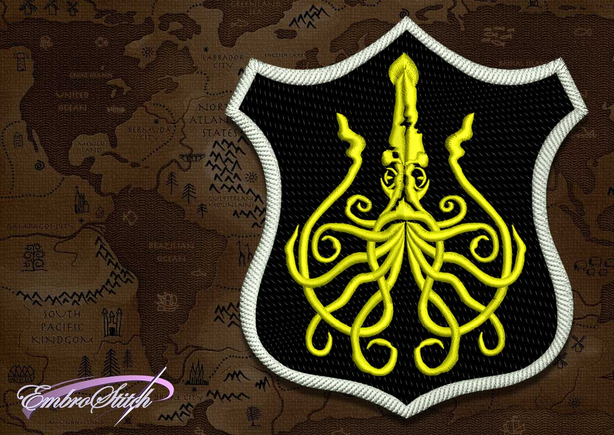 Professional digitizing of the embroidery design Patch Applique Greyjoy shield from Game of Thrones is provided by EmbroStich team.