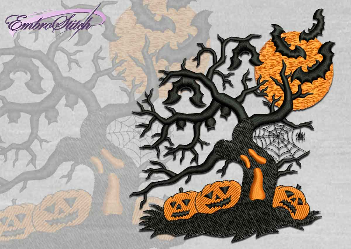 The high quality Halloween embroidery design Halloween tree
