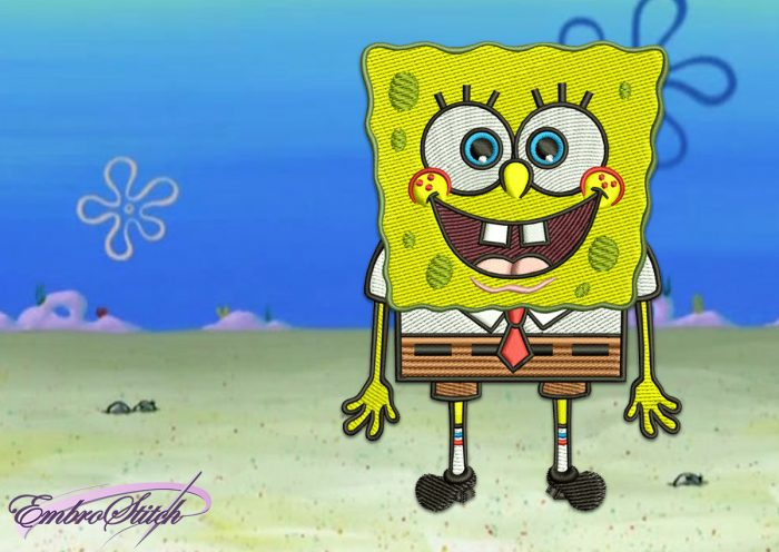 The embroidery design Happy SpongeBob will give a lot of positive emotions