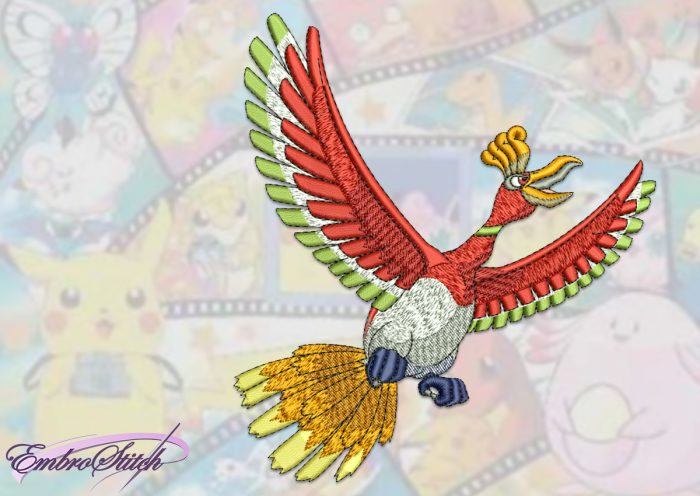 The embroidery design Ho-oh Pokemon depicts unusual bird.