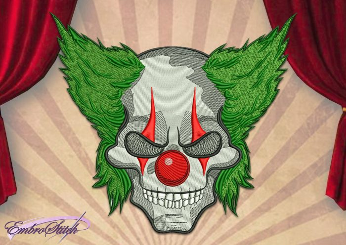 The embroidery design Horrible Jokers Skull will look good on jeans, t-shirts, jackets and bags.