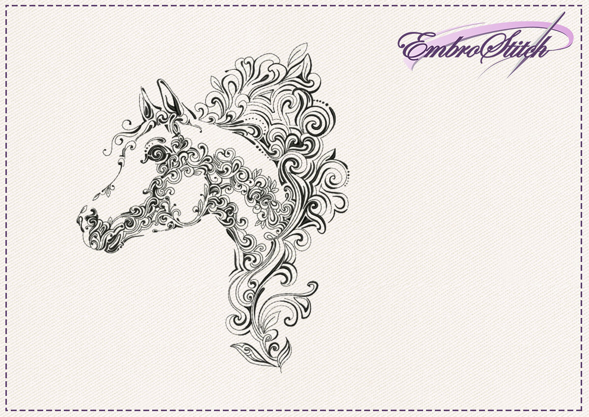 The embroidery design Horses head