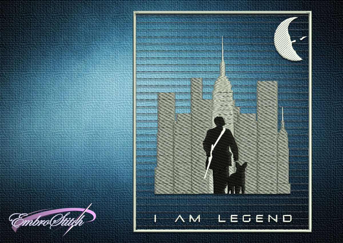 The embroidery design I Am Legend Collage was taken from the popular story of the same name about zombie apocalypse.