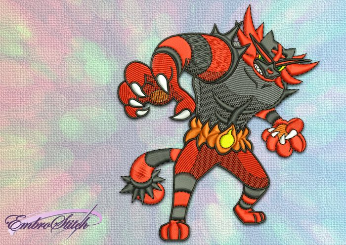 The embroidery design Incineroar Pokemon depicts a Pokémon of the Fire and Dark