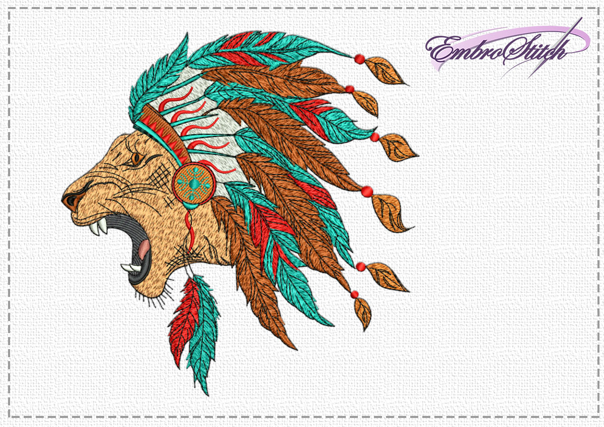 The high quality embroidery design Indian lion