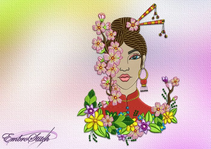 The embroidery design Japanese girl with a Sakura contains a lot of colores and stitching elements