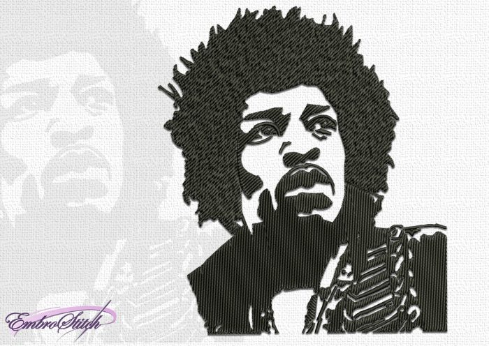 The embroidery design Jimi Hendrix is a rendition of one of the most famous photos of Jimi